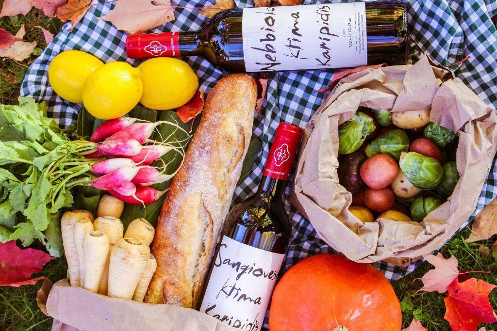 פיקניק ירקות ויין